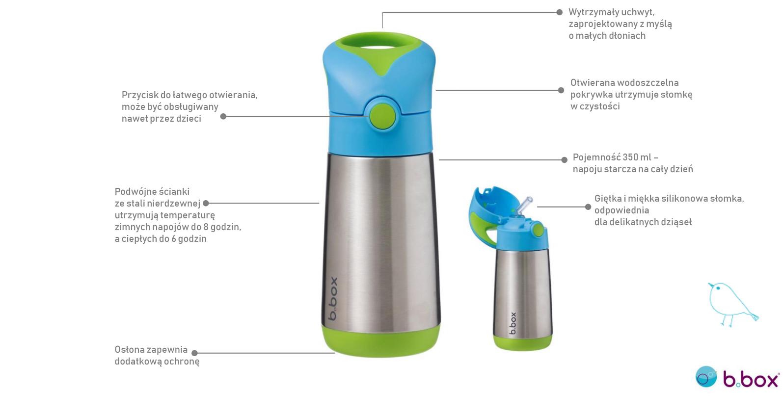 termobutelka dla dziecka, stalowa termobutelka, bidon ze słomką, wytrzymała termobutelka