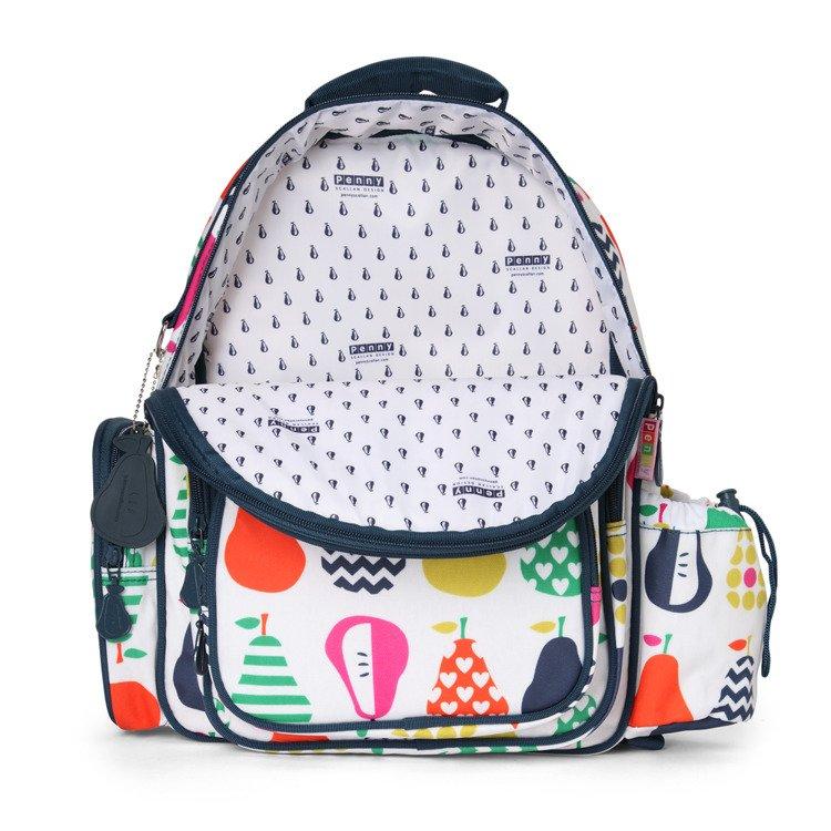 6cde7bdd3101f ... Duży plecak z kieszeniami biało-granatowy w gruszki Penny Scallan ...